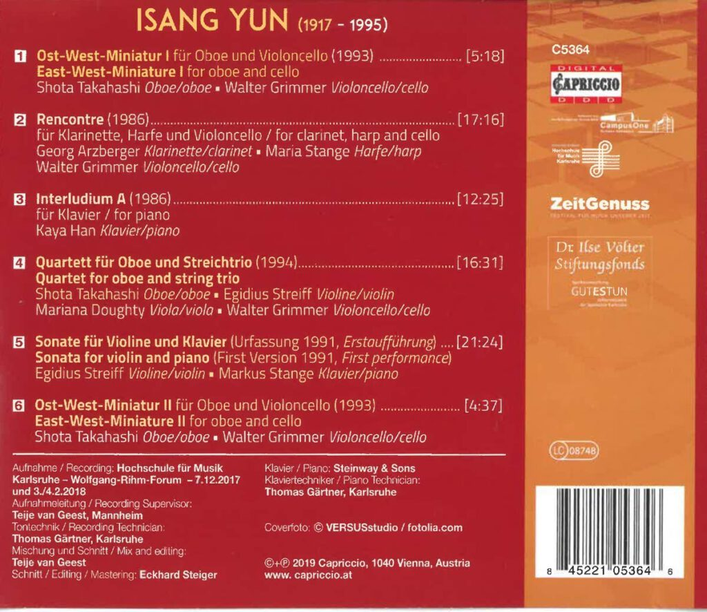 Chamber Music of Isang Yun - Capriccio CD C5364